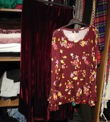 Bordo suknja i bluza
