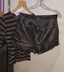 Комплет Amisu кожни куси панталони и блуза