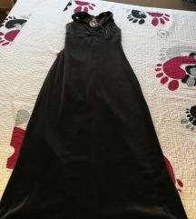 Темно сив плишан фустан