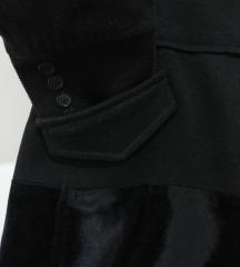 Handmade црн капут - волна/плиш