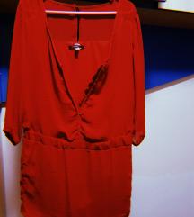Црвена туника/блуза свилена BERSHKA