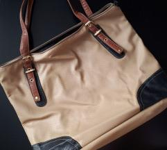 Голема крем/кафеава чанта