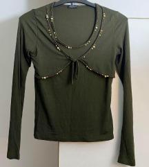 Нова маслинеста блуза со монистри