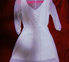 Бел свилен фустан - BERSHKA