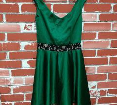 Zelen satenski fustan