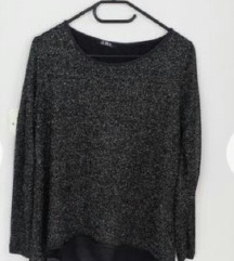 *300*Crna so srebreno Lamirana bluza CWK  L/XL%%