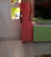Долг, праска боја фустан.