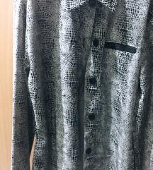 Памучна кошула со кожни детали