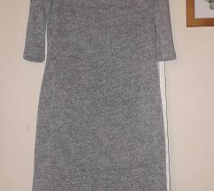 Нов зимски сив тесен фустан до колена С/М