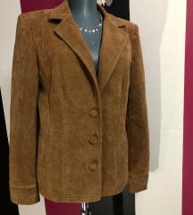 Уникатен модел кафеаво плишано сако