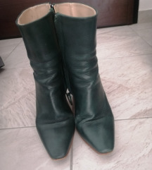 Темно зелени кожни чизми од Zara