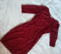 Црвен, чипкан, свечен фустан