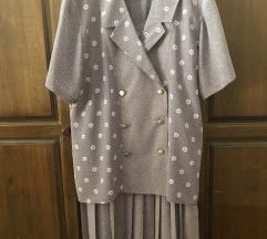 Женски комплет со плисирана сукња и кошула