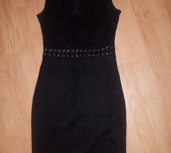 Црн плишан фустан