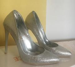 Silver snake leather high heels