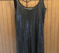 Crno svetkavo fustance