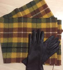 Вистинска кожа ракавици + шал