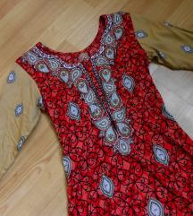 Crveno/ krem indiski fustan/ tunika