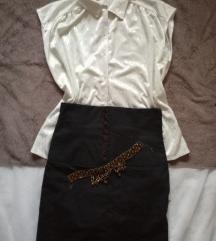 Sukjna so visok struk + bela koshula+ gerdan