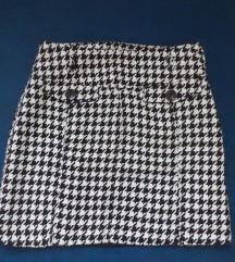 Неносена сукња во црно-бел 'houndstooth' принт