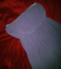 Долг сив фустан со златна линија на предниот дел