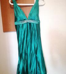 Свечен тиркиз фустан - намален