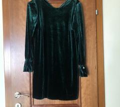 Плишан зелен мини фустан Emerald
