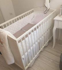 Krevetce + dusek,postelnina,zavesi i stranici