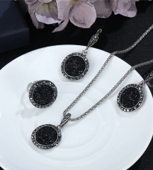 Antique silver set od kristali