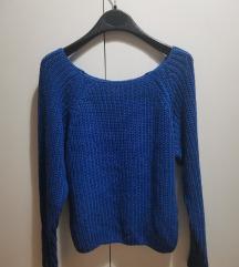 Темно син плетен џемпер со патент на ракавите