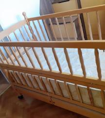 Симпо дрвено креветче со 2 фиоки+душек+оградица