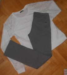 MANGO Pantaloni siva boja vel S-250 den