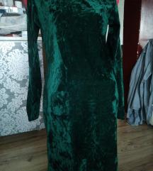 Смарагдно зелен плишан фустан