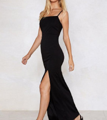 NastyGal Црн фустан со шлиц