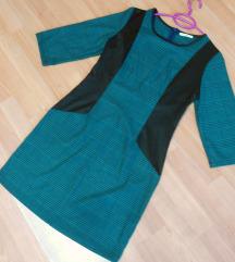 NOVO Crno zelen fustan M/L