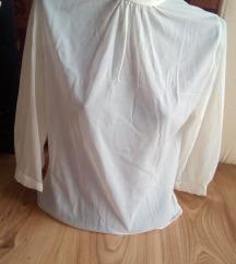 Бела тенка проѕирна блуза кошула 3/4