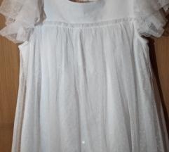 Свечено фустанче бело со чипка
