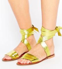 NOVI zlatni kozni sandali