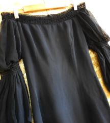 Dizajnerski crn fustan 100% svila