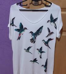 летна блуза со светкави птици