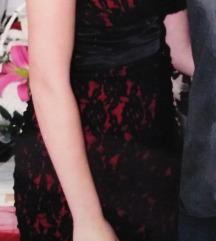 Црно-црвен чипкен фустан