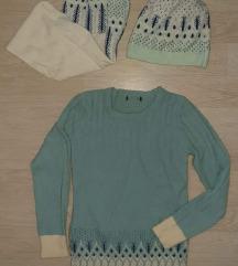 Комплет џемпер + капа + шал